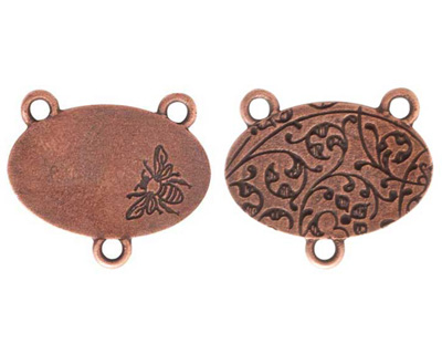 Nunn Design Antique Copper (plated) Large Oval Bee 2-1 Connector 22x25mm