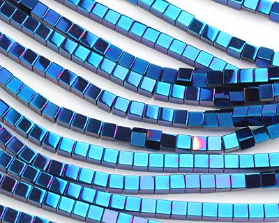 Metallic Blue Hematite (plated) Cube 4mm