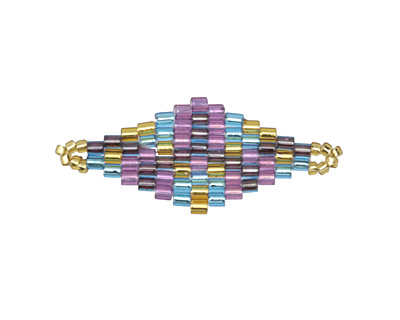 Passion Flower Hand Woven Diamond 32x13mm