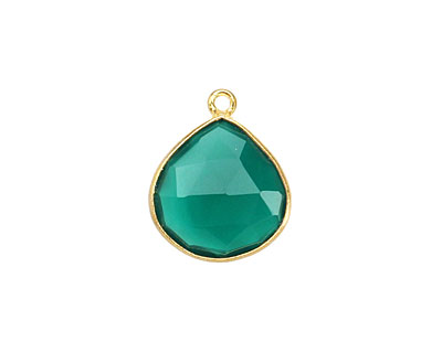 Green Onyx Faceted Teardrop Pendant in Gold Vermeil 15-16x18-19mm
