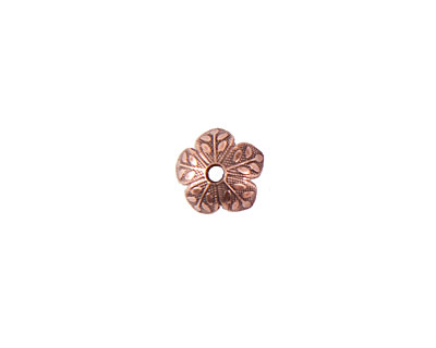 Nunn Design Antique Copper (plated) 8mm Etched Daisy Bead Cap 4x9mm