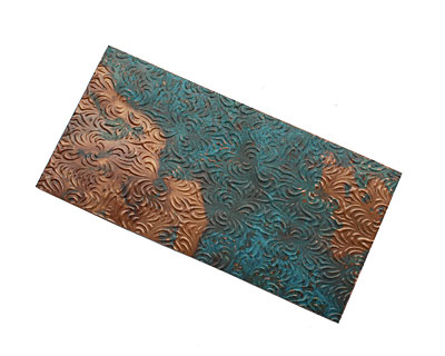 Lillypilly Azul Morphed Embossed Patina Copper Sheet 3
