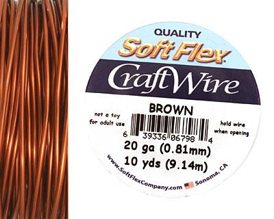Soft Flex Brown Craft Wire 20 gauge, 10 yards
