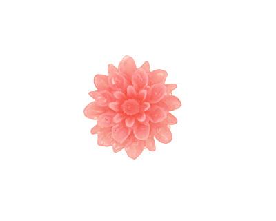 Transparent Pink Lucite Dahlia Flower Cabochon 16mm