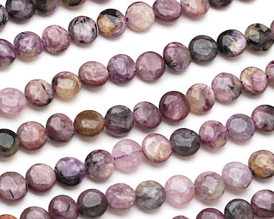 Charoite Puff Coin 8mm