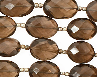 Smoky Quartz Faceted Flat Oval 11-16x8-11mm