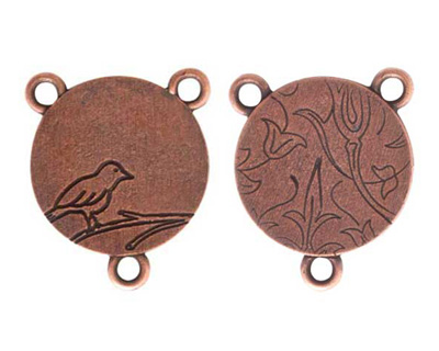 Nunn Design Antique Copper (plated) Small Circle Bird 2-1 Connector 24x20mm