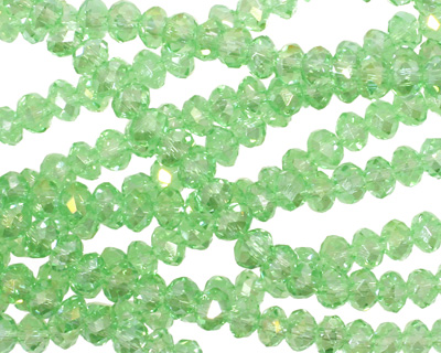 Peridot AB Crystal Faceted Rondelle 4mm
