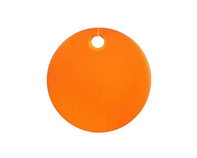 Tangerine Recycled Glass Concave Coin 24mm