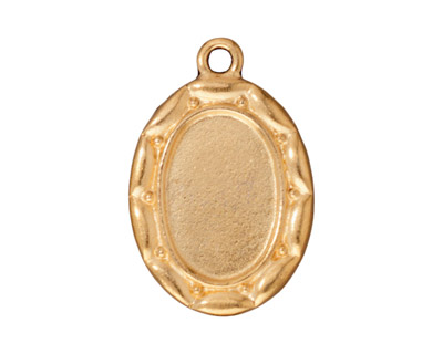 TierraCast Antique Gold (plated) Scalloped Oval Frame Drop 19x28mm