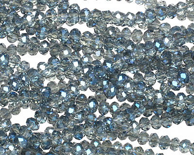 Luster Blue Crystal Faceted Rondelle 3mm