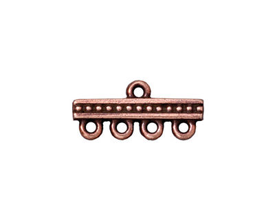 TierraCast Antique Copper (plated) 1-4 Beaded Bar 21x10mm