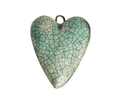 Earthenwood Studio Ceramic Aqua Crackle Heart 23x32mm