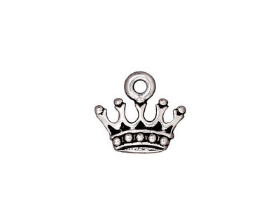 TierraCast Antique Silver (plated) King's Crown Charm 15x13mm