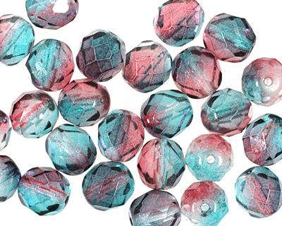 Czech Fire Polished Glass Dual Coated Pink/Blue Round 8mm