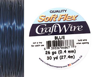 Soft Flex Blue Craft Wire 26 gauge, 30 yards