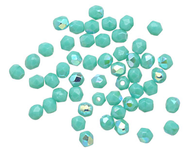 Czech Fire Polished Glass Turquoise AB Round 3mm