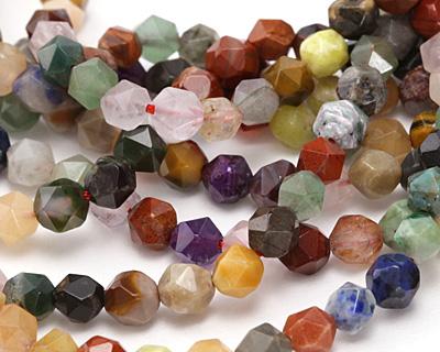 Multi Gemstone (Sodalite, Tiger Eye, Red Jasper, Aventurine) Star Cut Round 5-7mm