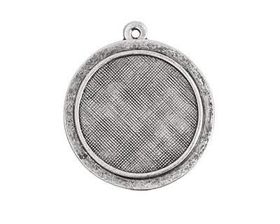 Nunn Design Antique Silver (plated) Raised Circle Pendant 26x29mm