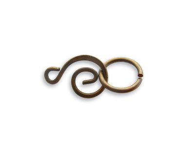 Vintaj Natural Brass Swirl Clasp Set 15x9mm, 10mm Ring