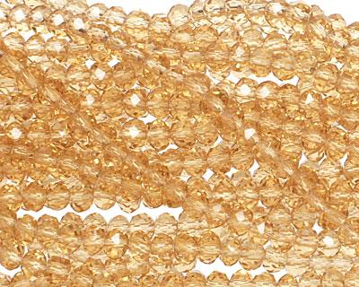 Light Topaz Crystal Faceted Rondelle 3mm
