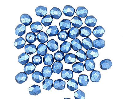 Czech Fire Polished Glass ColorTrends: Saturated Metallic Little Boy Blue Round 4mm