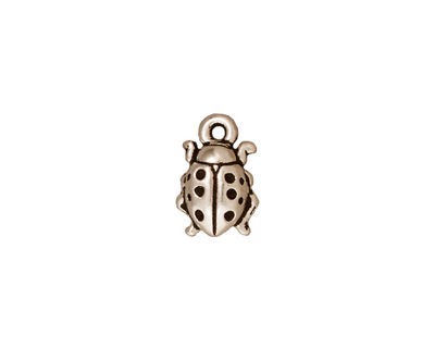 TierraCast Antique Silver (plated) Lady Bug Charm 8x13mm