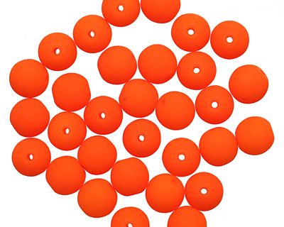 Czech Glass Bright Neon Orange Round 6mm