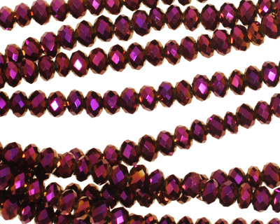 Metallic Gold Raspberry Crystal Faceted Rondelle 4mm