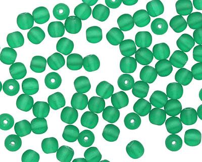 Czech Glass Matte Emerald Round 4mm