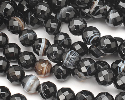 Black Sardonyx Faceted Round 8mm