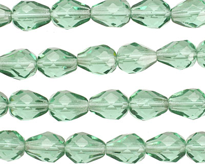Czech Glass Transparent Teal Faceted Teardrop 9x7mm