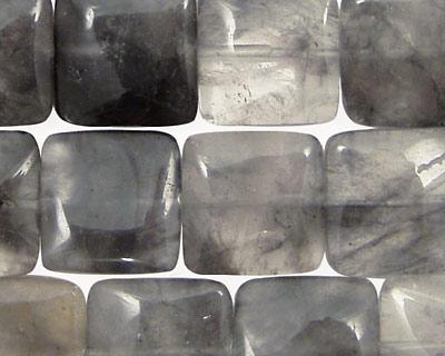 Natural Silver Quartz Puff Square 15mm
