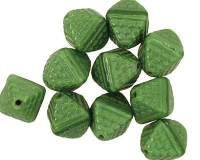 Czech Glass Grass Green Patterned Diamond 12x9mm
