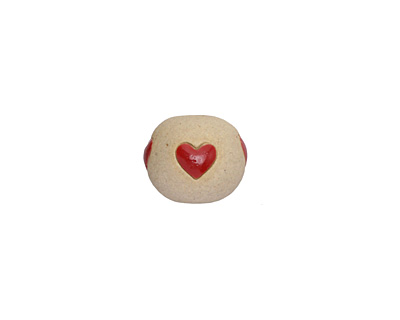 Golem Studio Vertical Hearts Carved Ceramic Round Bead 12x14mm