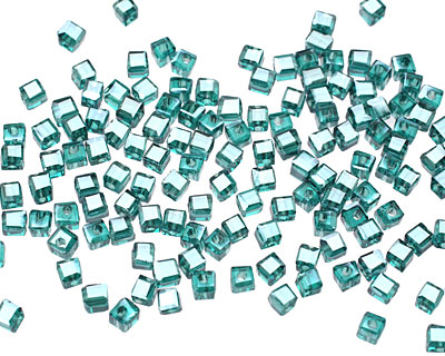 Teal w/Silver Luster Crystal Faceted Cube 2mm