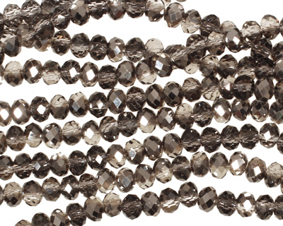 Smoky & Jet Hematite Crystal Faceted Rondelle 4mm
