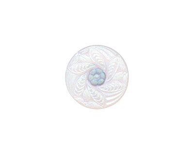 Czech Glass Iridescent White Bay Leaf Wreath Button 18mm