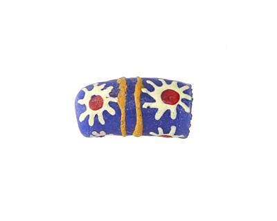 African Handpainted in White/Red Flower Burst on Blue Powder Glass (Krobo) Bead 17-18x10mm