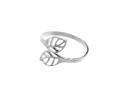 Amoracast Sterling Silver Adjustable Leaf Ring