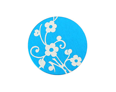 Lillypilly Turquoise Floral Vine Anodized Aluminum Disc 25mm, 24 gauge
