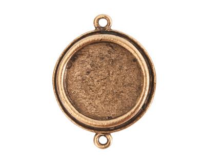 Nunn Design Antique Gold (plated) Traditional Circle Bezel Pendant Link 29x23mm