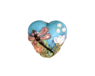 Grace Lampwork Purple Dragonfly w/ Orange Flora Heart 19-20mm
