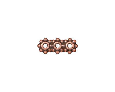 TierraCast Antique Copper (plated) Beaded 3-Hole 6mm Heishi Bar 15x6mm