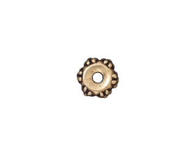 TierraCast Antique Gold (plated) Large Hole Flower Heishi 3x9mm