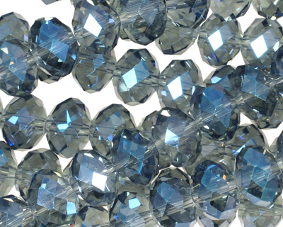 Luster Blue Crystal Faceted Rondelle 10mm