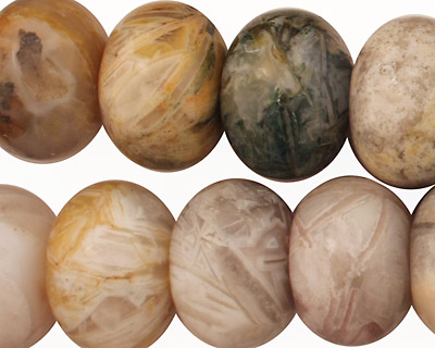 Bamboo Leaf Agate Rondelle 13x18mm