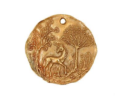 Green Girl Bronze Unicorn Pendant 28-32mm