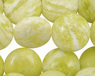 Natural Lemon Jade Puff Coin 18mm