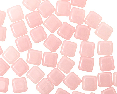 Czech Glass Light Milky Pink Square 6mm